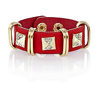Girls red pyramid studded cuff