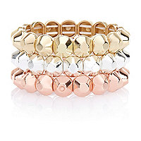 Girls gold tone three pack studded bracelets