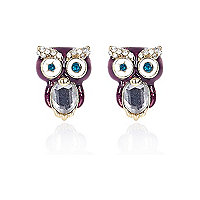 Girls purple diamante owl earrings