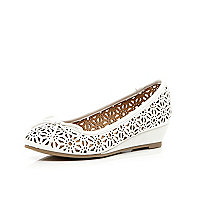 Girls white laser cut ballerina wedges