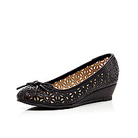 Girls black laser cut ballerina wedges
