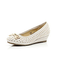 Girls cream studded ballerina wedges