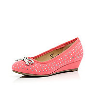 Girls pink studded ballerina wedges
