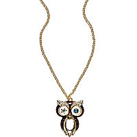 Girls purple diamante owl necklace