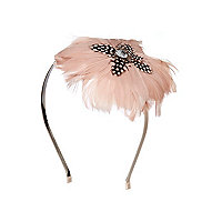 Girls pink feather fascinator alice band