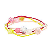 Girls pink four pack sparkle hair bands
