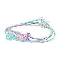 Girls purple four pack sparkle hair bands