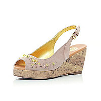 Girls light pink studded sling back wedges