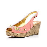 Girls coral studded sling back wedges