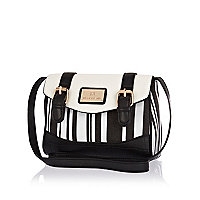 Girls white and black stripe satchel