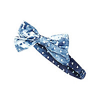 Girls blue denim bow stretch headband