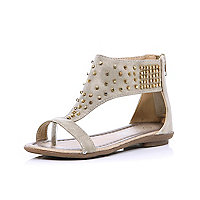 Girls beige studded sandals