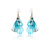 Girls blue feather earrings