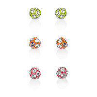 Girls green three pack crystal ball earrings