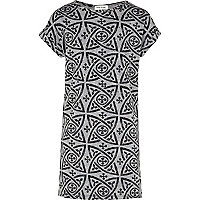 Girls grey tribal print t-shirt dress