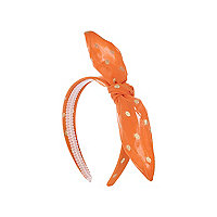 Girls orange metallic spot alice band