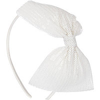 Girls white sequin bow alice band