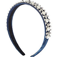Girls blue denim floral diamante alice band