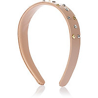 Girls pink leather look studded alice band