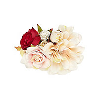 Girls red and white rose corsage