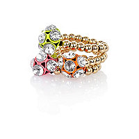Girls pink three pack crystal ball rings