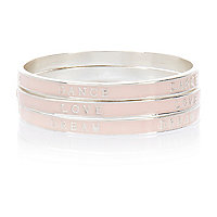 Girls pink enamel word bangle pack