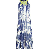 Girls blue tie dye maxi dress