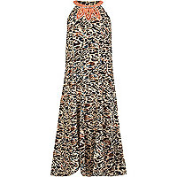 Girls brown animal print maxi dress
