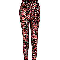 Girls red tribal print trousers