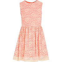 Girls orange fluro cream lace skater dress