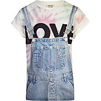 Girls blue love dungaree print t-shirt