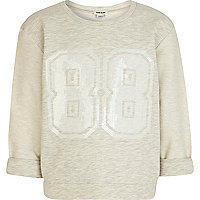 Girls cream sequin 88 print sweatshirt