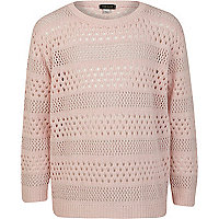 Girls pink pointelle jumper