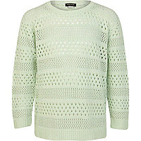 Girls green pointelle jumper