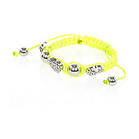 Girls neon yellow diamante heart bracelet