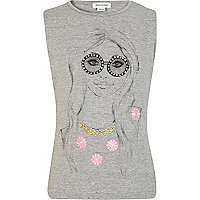 Girls grey sunny days girl print tank top