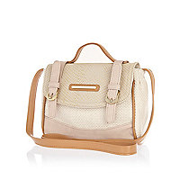 Girls cream colour block satchel