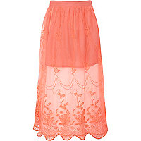 Girls pink lace maxi skirt