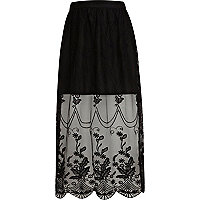 Girls black lace maxi skirt