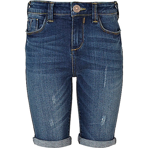 Girls blue dark wash denim long shorts