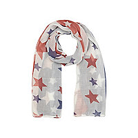 Girls blue stars and stripes print scarf