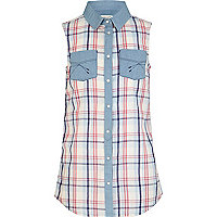 Girls blue sleeveless check shirt