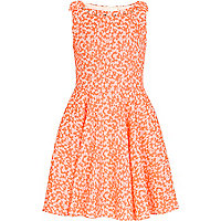 Girls fluro orange prom dress