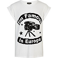 Girls white i'm famous in Europe t-shirt