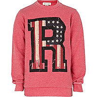 Girls pink American flag R initial sweat top