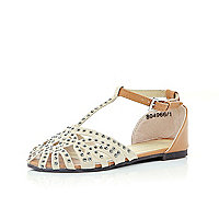 Girls cream diamante T bar sandals