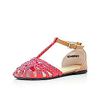 Girls red diamante T bar sandals