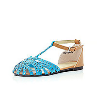 Girls blue diamante T bar sandals
