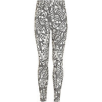 Girls black aztec print denim look leggings