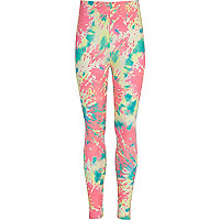 Girls pink splodge print leggings
